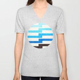 Minimalist Mid Century Circle Frame Cerulean Blue Zig Zag Colorful Lightning Bolt Geometric Pattern Unisex V-Neck