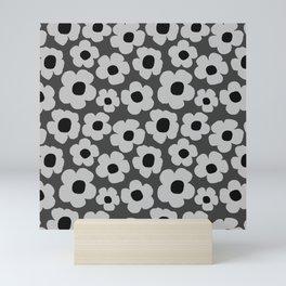Dark grey floral pattern Mini Art Print