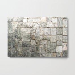 Grey Cold Stone Masonry Wall Metal Print
