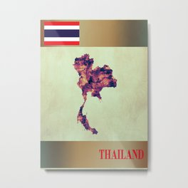 Thailand Map with Flag Metal Print