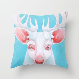 Portrait of a White Stag Throw Pillow