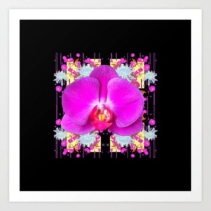 Black Purple Butterfly Orchid White Mums Flowers Art Print By