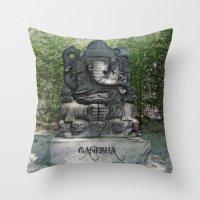 ganesha Throw Pillows featuring Ganesha by Lucia