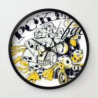 poker Wall Clocks featuring Poker face by Tshirt-Factory