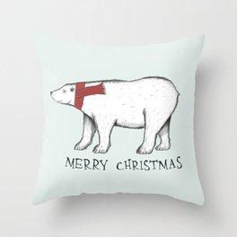 Christmas Polar Bear Throw Pillow