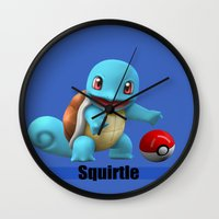 squirtle Wall Clocks featuring Squirtle by Yamilett Pimentel