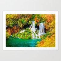 Autumn Waterfall in Plitvice Lakes Art Print