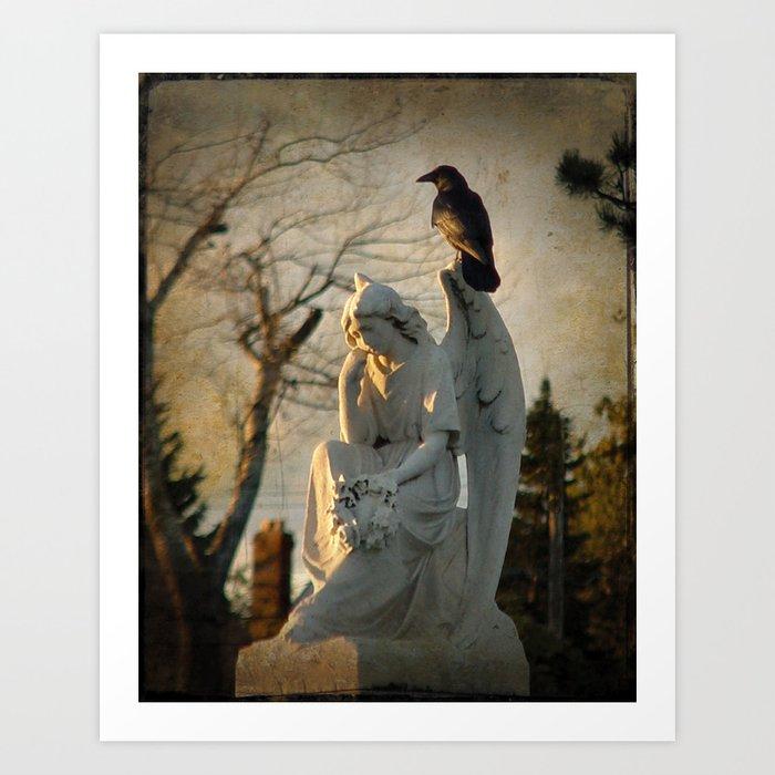 Angel and Crow Art Print