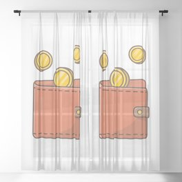 Wallet with flying gold coins Sheer Curtain