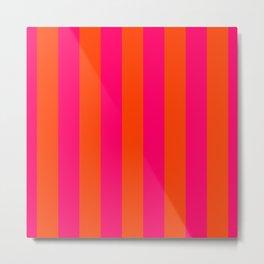 Bright Neon Pink and Orange Vertical Cabana Tent Stripes Metal Print