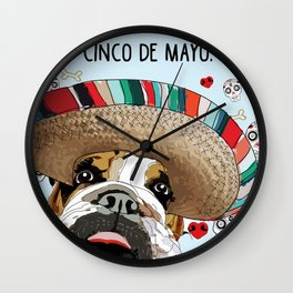 Cinco de Bulldog Wall Clock