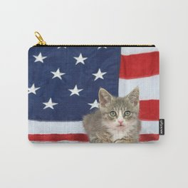 Patriotic Tabby Kitten Carry-All Pouch