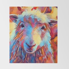 Sheep Watercolor Throw Blanket