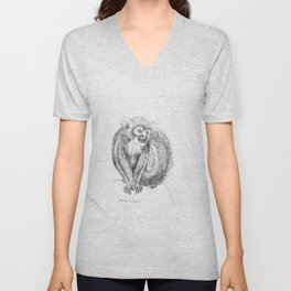 Squirrel Monkey Drawing Unisex V-Neck