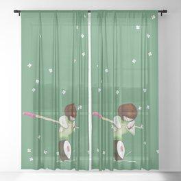 Kokeshi balancing on sushi funny design Sheer Curtain