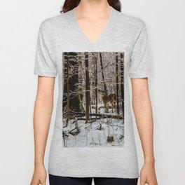 Deer in the Glistening Forest by Teresa Thompson Unisex V-Neck