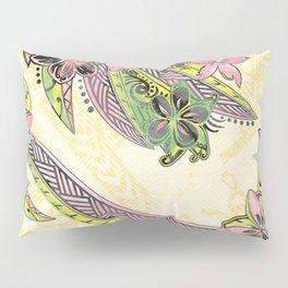 Polynesian Hand Drawn Floral Watercolor Threads Pillow Sham