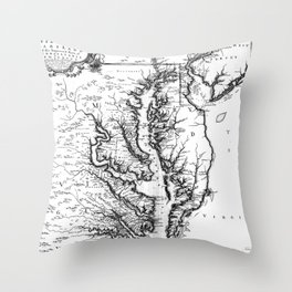 Vintage Map of The Chesapeake Bay (1719) BW Throw Pillow