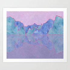 Mountain Reflection in Water - Pastel Palette Art Print
