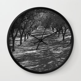 Black & White Almond Orchard Pencil Drawing Photo Wall Clock