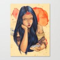 pocahontas Canvas Prints featuring Pocahontas by Bárbara  Kramer