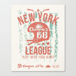 The emblem of the rugby team from New York in retro style Canvas Print