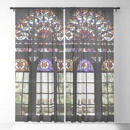 Colorful Rainbow Stain Glass Persian Window Art Sheer Curtain