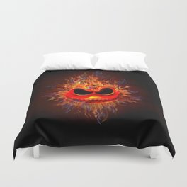Skull Fire emoticon face iPhone 4 4s 5 5c 6 7, pillow case, mugs and tshirt Duvet Cover