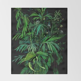 Green & Black, summer greenery Throw Blanket