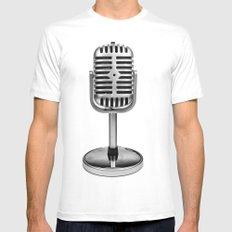 Vintage Microphone Mens Fitted Tee MEDIUM White