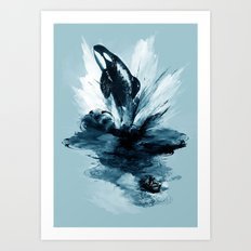 deep blue rising Art Print