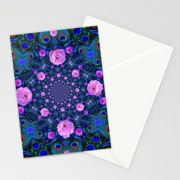 DECORATIVE HUNDRED  PINK ROSES & BLUE  ABSTRACT Stationery Cards