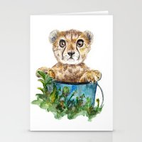 cheetah Stationery Cards featuring cheetah by Anna Shell
