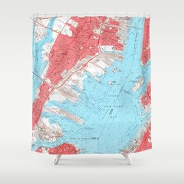 Vintage Map of Jersey City NJ (1955) 2 Shower Curtain