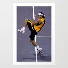 Rafa Nadal celebrates a match point Art Print