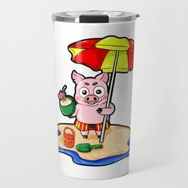 Beach Piggy Pig Piglet swimming trunks Holiday Travel Mug