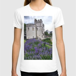 White Marble & Violet Flowers T-shirt