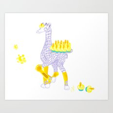 Birthdays are Coming - Midas is Ready - Christmas Lavender Giraffe Art Print