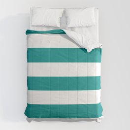 Dark cyan - solid color - white stripes pattern Comforters
