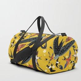 Swallows Martins and Swift pattern Yellow Duffle Bag