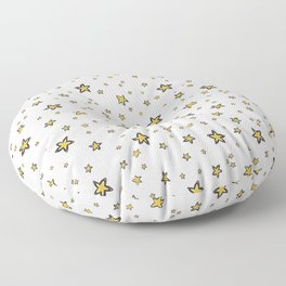 Starry Sky Seamless Vector Pattern, Hand Drawn Illustration Yellow Floor Pillow