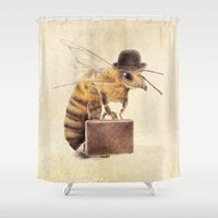 bee Shower Curtains featuring Worker Bee by Eric Fan