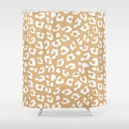 Safari Leopard Print - Beige & White Shower Curtain