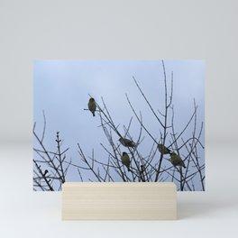 Winter Birds on Bare Branches Mini Art Print