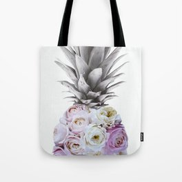 Pineapple, Vintage, Retro, Floral Blush Pink Roses Tote Bag