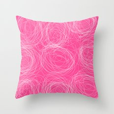 Abstract white circles and dots - abstract pattern - on pink Throw Pillow