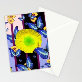 BLUE BUTTERFLY &  LEMON YELLOW FLOWER FLORAL CAGE Stationery Cards