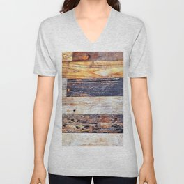 Weathered Rustic Western Country Farmhouse Chic Brown Beige Grey Barn Board  Unisex V-Neck