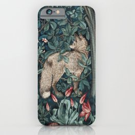 William Morris Forest Fox Greenery apestry iPhone Case