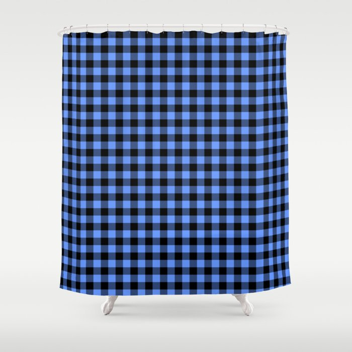 Classic Sky Blue Country Cottage Summer Buffalo Plaid Shower Curtain